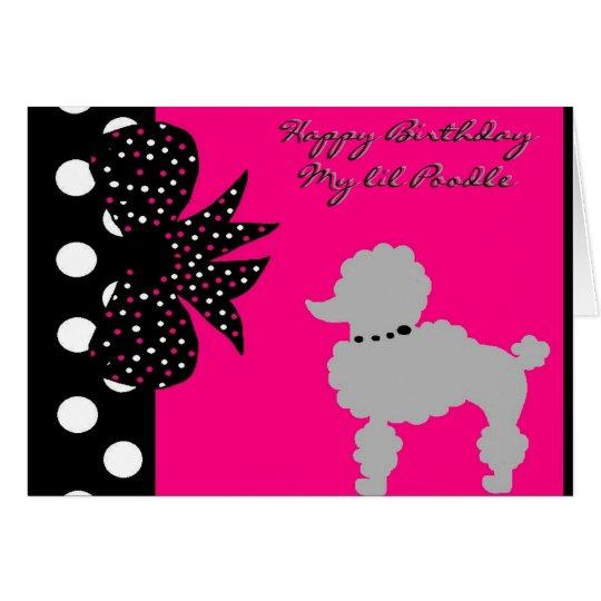 Rosa Pudel-Geburtstag Karte
