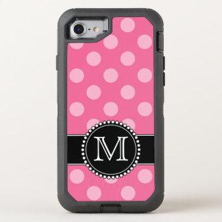 Rosa Punkt, personalisierter, mit Monogramm OtterBox Defender iPhone 7 Hülle