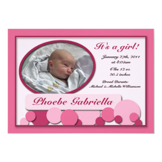 Rosa punktierte Spaß-Geburts-Mitteilungen 12,7 X 17,8 Cm Einladungskarte
