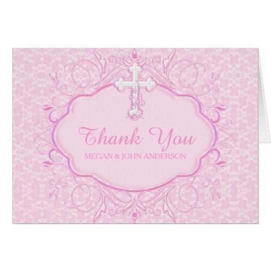 Rosa Quertaufe-Taufe danken Ihnen zu kardieren Karte