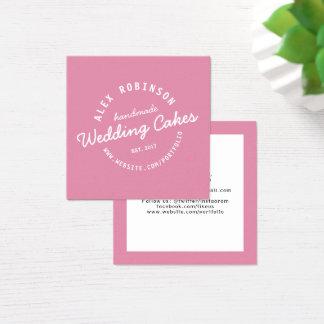 Rosa Retro Hochzeitstortebäckerei-Visitenkarte Quadratische Visitenkarte