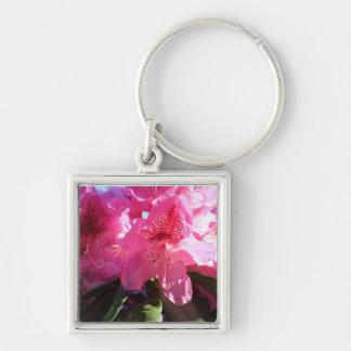rosa Rhododendron-Blumen Silberfarbener Quadratischer Schlüsselanhänger