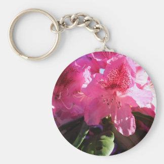 rosa Rhododendron-Blumen Standard Runder Schlüsselanhänger