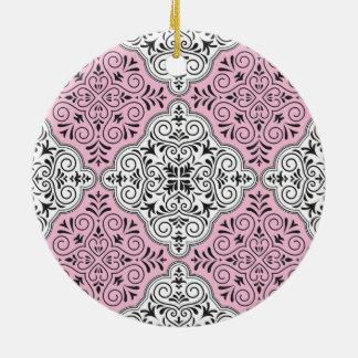 Rosa Rokoko-Muster blühen Keramik Ornament
