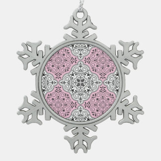 Rosa Rokoko-Muster blühen Schneeflocken Zinn-Ornament