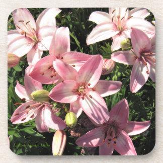 Rosa, Rosa-weiße asiatische Lilien Getränkeuntersetzer