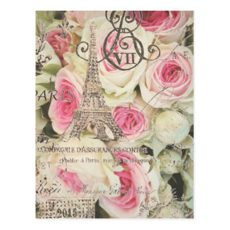 Rosa Rose Chic-Vintage Blumenparis Postkarte