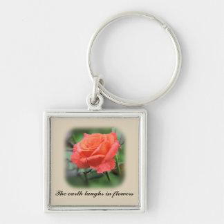 Rosa Rose in der vollen Blüte Schlüsselanhänger