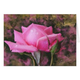 Rosa Rose mit Wasser-Tröpfchen-leerer Gruß-Karte Grußkarte