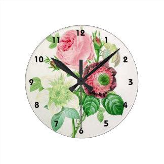 Rosa Rose Pierres Joseph Redouté, Vintages Blumen Runde Wanduhr