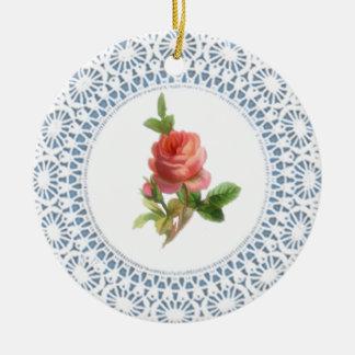 Rosa Rosedoily-Art-Verzierung Keramik Ornament