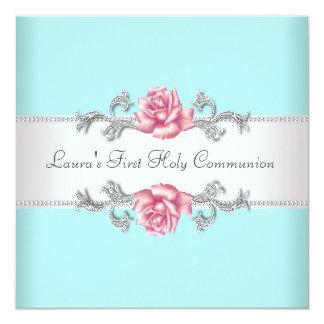 Rosa Rosen-aquamarine Mädchen-aquamarine erste Karte