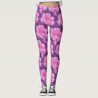 Rosa Rosen auf lila Hintergrund Leggings