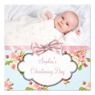 Rosa Rosen-Baby-Mädchen-Foto-Taufe Quadratische 13,3 Cm Einladungskarte