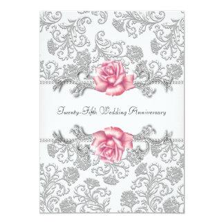 Rosa Rosen-Damast-Silber-25. Hochzeits-Jahrestag Karte