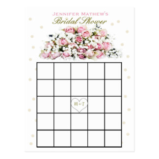 Rosa Rosen des Brautparty-Bingo-  Postkarte
