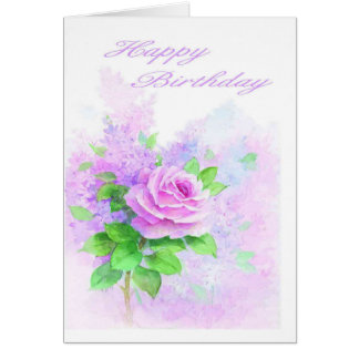 Rosa Rosen-Geburtstags-Karte Karte