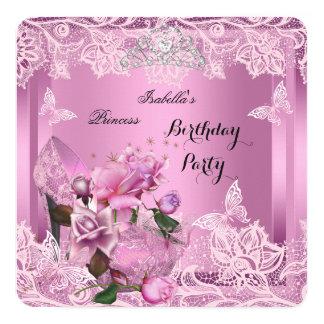 Rosa-Rosen-Geburtstags-Party 2 Prinzessin-hohe Quadratische 13,3 Cm Einladungskarte