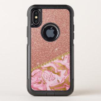 Rosa Rosen-GoldGlitzer-und -schein-Marmor OtterBox Commuter iPhone X Hülle