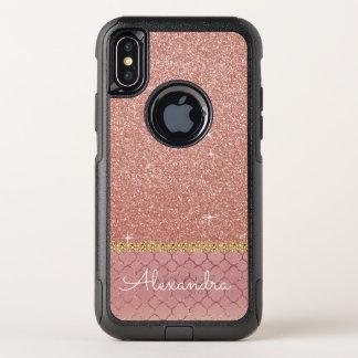 Rosa Rosen-GoldGlitzer und Schein-Muster OtterBox Commuter iPhone X Hülle
