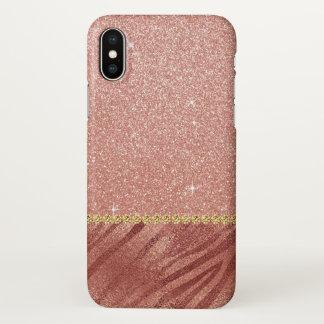 Rosa Rosen-GoldGlitzer-und -schein-Tierdruck iPhone X Hülle
