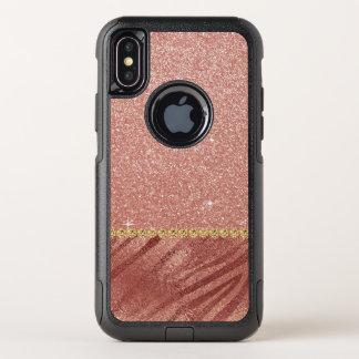 Rosa Rosen-GoldGlitzer-und -schein-Tierdruck OtterBox Commuter iPhone X Hülle