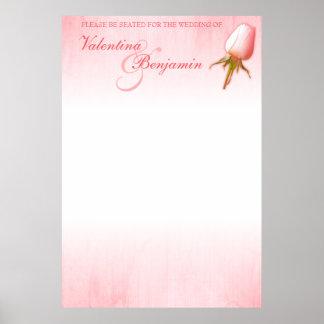 Rosa Rosen-Hochzeits-Sitzplatz-Tabellen-Planfreier Poster