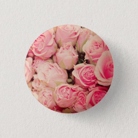 Rosa Rosen-Knopf Runder Button 3,2 Cm
