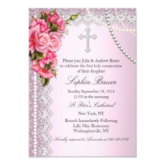 Rosa Rosen-Kreuz-heilige Kommunion oder Taufe Karte