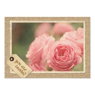Rosa Rosen-Leinwand-Vintager 12,7 X 17,8 Cm Einladungskarte