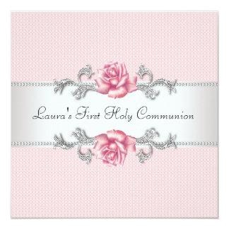 Rosa Rosen-Mädchen-erste Kommunion Quadratische 13,3 Cm Einladungskarte