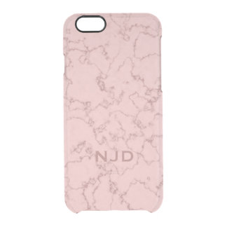 Rosa Rosen-Quarz-Marmor personalisiertes iPhone Durchsichtige iPhone 6/6S Hülle