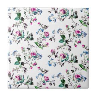 Rosa Rosen-und blaue Blumen-Blumenentwurf Kleine Quadratische Fliese
