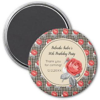 Rosa Rosen und Hahnentrittmuster alles Gute zum Runder Magnet 7,6 Cm