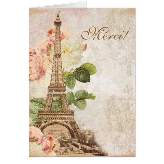 Rosa Rosen-Vintage romantische Paris danken Ihnen Karte