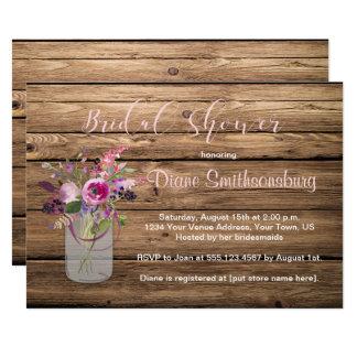 Rosa Rosen-Wildblumen-Scheunen-hölzernes 12,7 X 17,8 Cm Einladungskarte