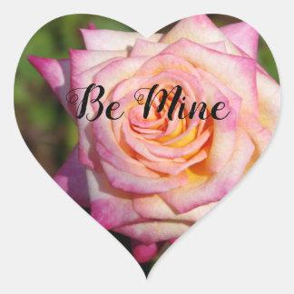 Rosa RoseValentine Herz-Aufkleber