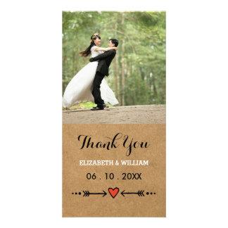 Rosa Schatze u. Pfeil-rustikale Hochzeit danken Fotokarten