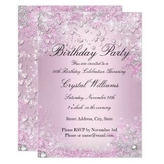 Rosa Schein-Herz-Geburtstags-Einladung Karte