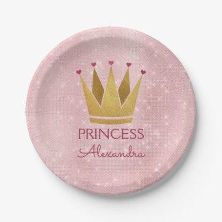 Rosa-Schein Prinzessin-Crown Rose Gold Blush Pappteller