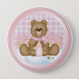Rosa Schlafenszeit-Teddybär-Knopf Runder Button 10,2 Cm