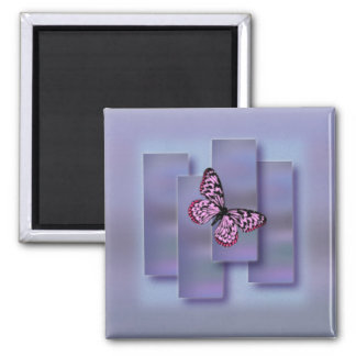 Rosa Schmetterling auf gemischtem Lavendel täfelt Quadratischer Magnet
