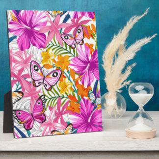 Rosa Schmetterlings-Blumen-Muster-Druck-Entwurf Fotoplatte