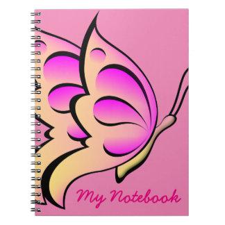 Rosa Schmetterlingsnotizbuch Notizblock