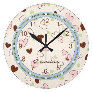 Rosa Schokolade und Limone Herz-Druck-Uhr Große Wanduhr