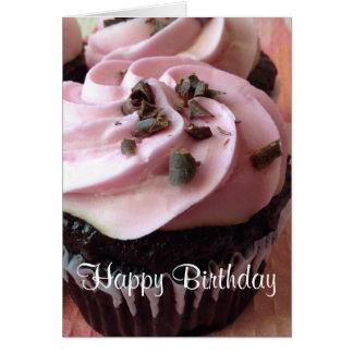 Rosa Schokoladen-Kuchen-Gruß-Karte Karte