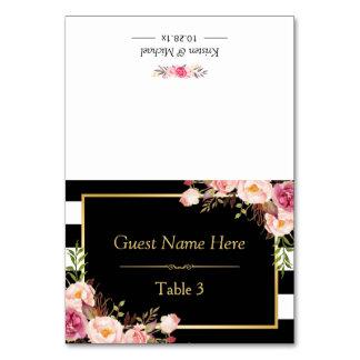 Rosa Schwarz-weiße mit Blumenstreifen, die Platz Karte