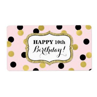 Rosa schwarze Goldconfetti-Geburtstags-Aufkleber
