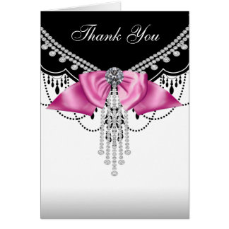 Rosa schwarze rosa Prinzessin Thank You Cards Karte