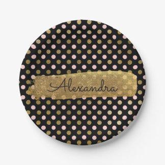 Rosa, Schwarze und Goldfolien-Tupfen u. Streifen Pappteller